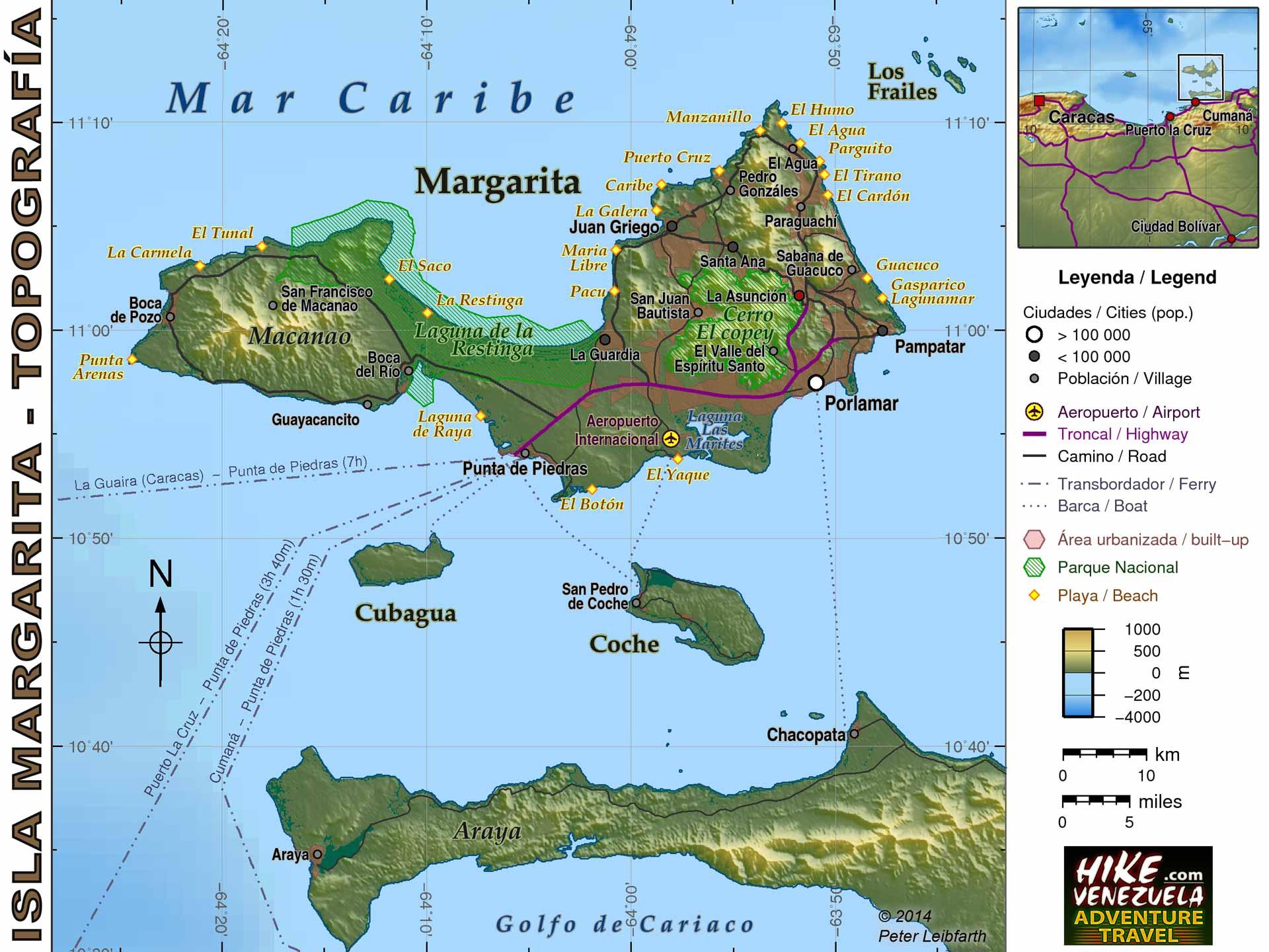 Venezuela Topographic Map.Venezuela Maps Hike Venezuela Com
