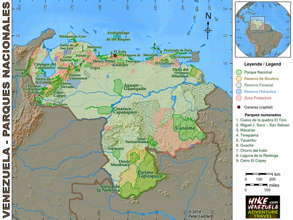 Map of National Parks in Venezuela Venezuela