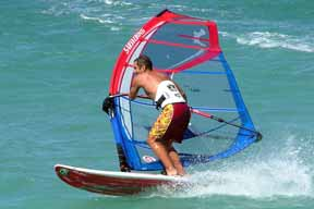 Windsurfer with modern gear